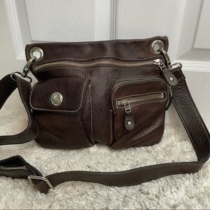 Roots Brown Leather Village Bag Crossbody Purse